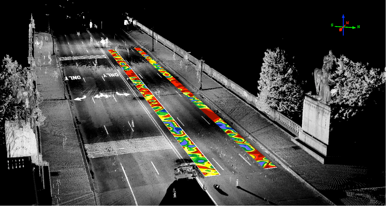 impact echo data overlayed on lidar map of arlington bridge