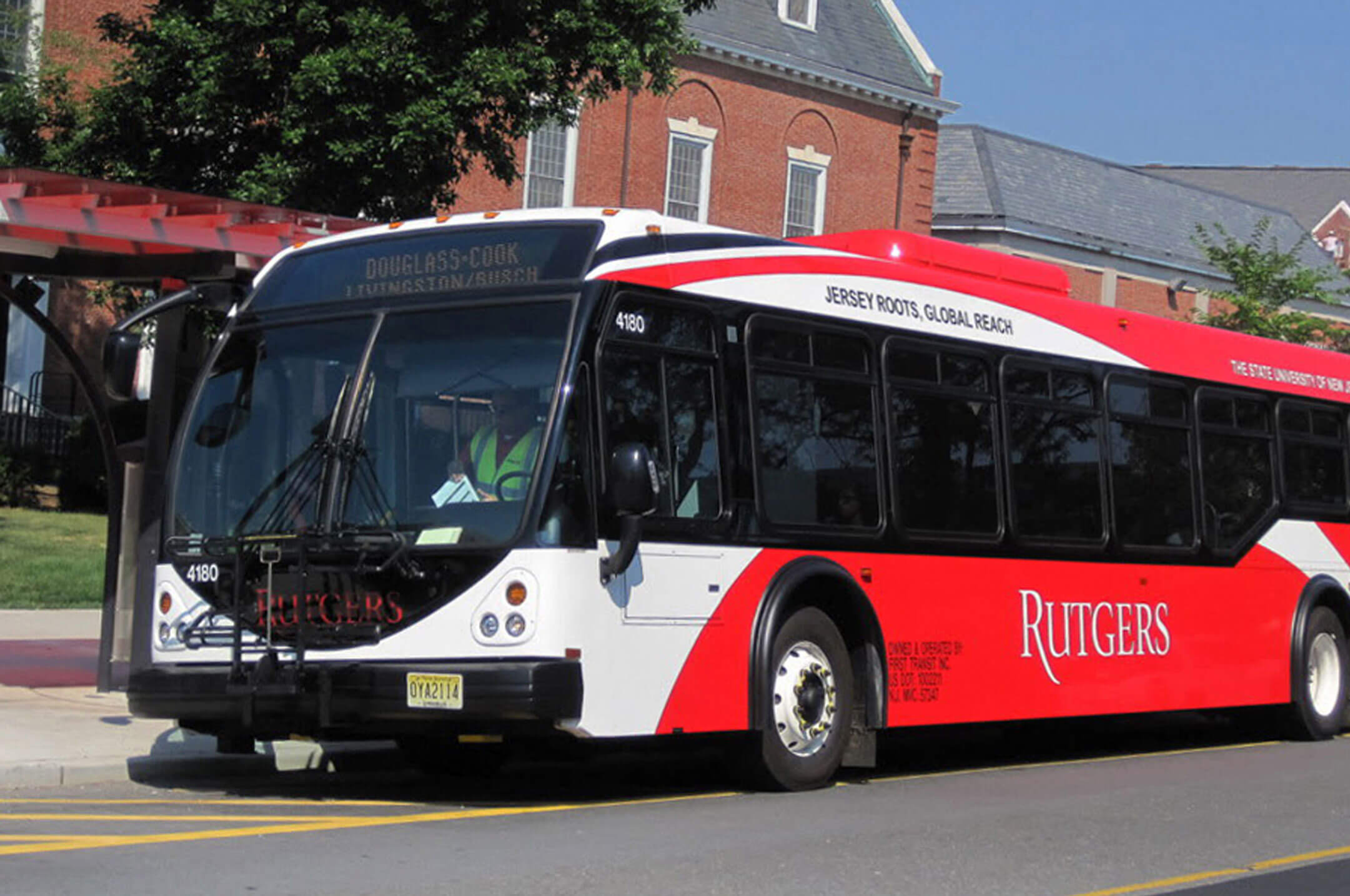Rutgers bus at a stop on College Avenue