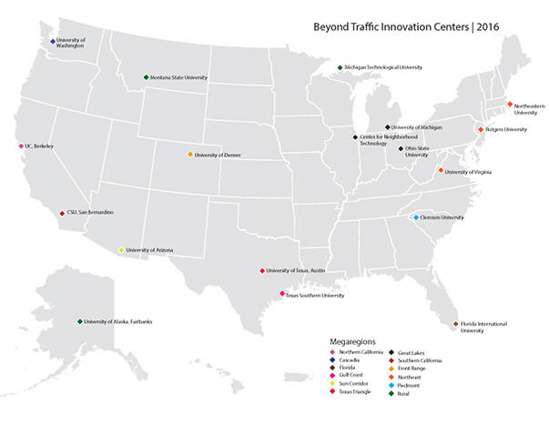 U.S. map showing regions designated by USDOT for Beyond Traffic centers