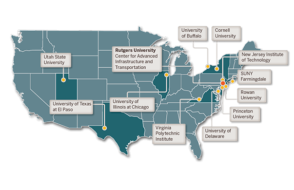 U.S. map showing locations of CAIT and its partner institutions