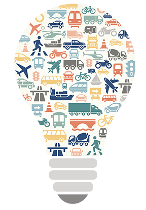illustration of lightbulb with transportation icons inside