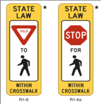 regulation in-street crosswalk signs for 'stop for pedestrians' and 'yield to pedestrians'