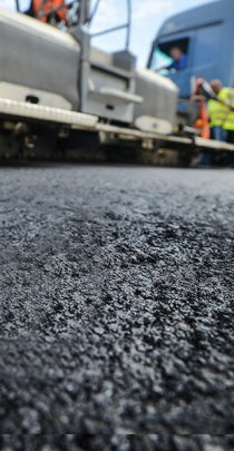 extreme close up of asphalt pavement