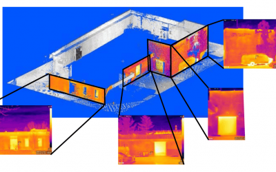point cloud rendering of a building correlating various infrared data to point references on the point cloud