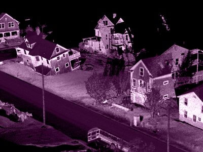 lidar scan of houses damaged from Hurricane Sandy