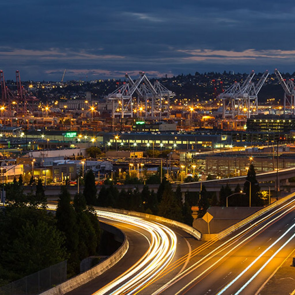 Seattle at night showing complex built environment