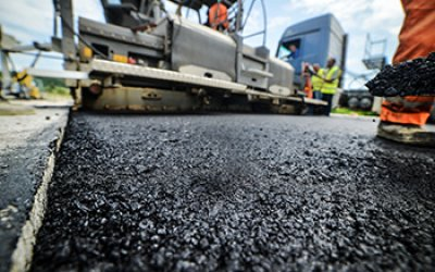 low angle view of freshly laid asphalt