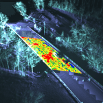 color-coded bridge condition data overlayed on a 3D map of bridge