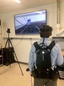 Person using virtual reality equipment.