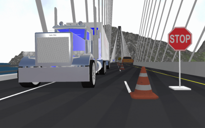 Truck driving on VR bridge.