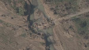 Vehicular bridge after Hurricane Maria.