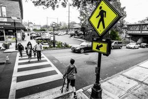 People crossing street.