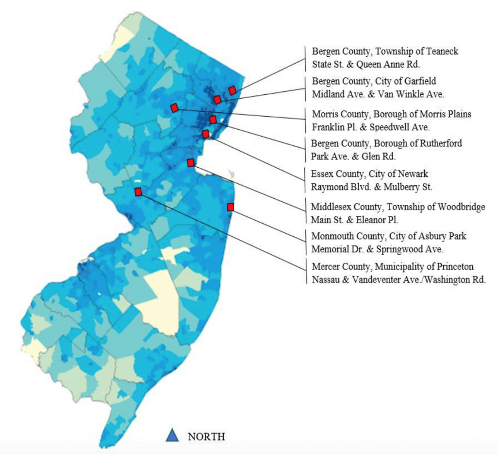Eight Street Smart NJ evaluation sites on a map of population density in New Jersey.