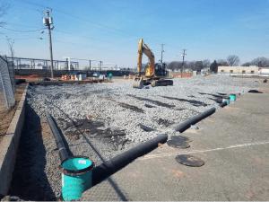 Porous parking lot construction