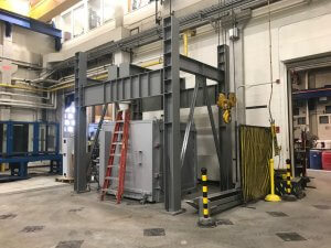 high-temperature furnace at the University at Buffalo's Structural Engineering and Earthquake Simulation Laboratory