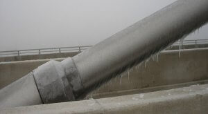 Ice forming on a cable stay