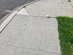 Existing porous concrete sidewalk