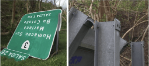 Images of damaged sign from Case 1.